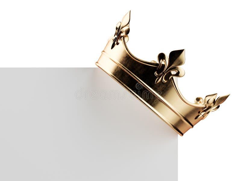 Z?ota korona na pustej desce royalty ilustracja