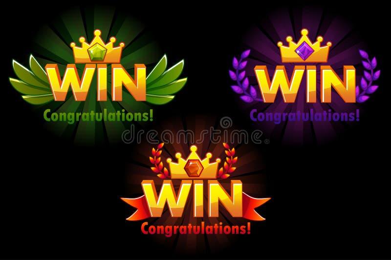 Z?ota wygrana Wektorowe wersje Odizolowywający logo Wygrywa z barwionymi cennymi klejnotami dla rozwija 2D gier royalty ilustracja
