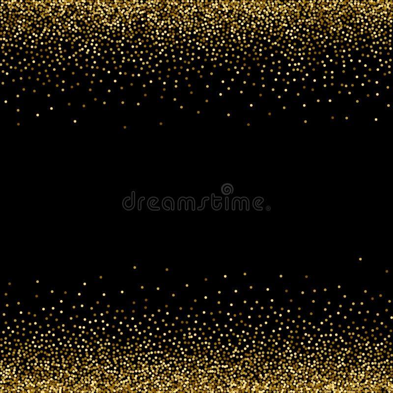 Z?ote gwiazdy, b?yskotliwi confetti Rozrzucony ma?y l?nienie, b?yszcz?ce pi?ki, okr?gi Przypadkowa stelarna kropla na czarnym tle royalty ilustracja