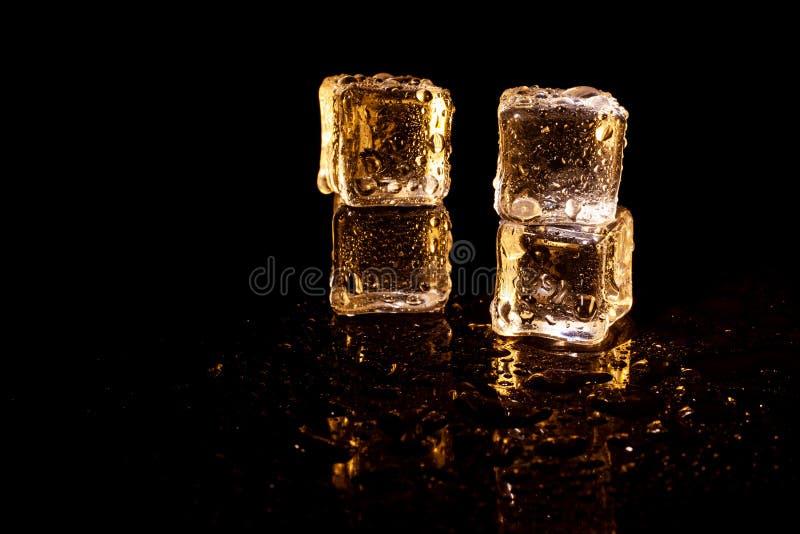 Z?ote kostki lodu na czarnym tle zdjęcia stock