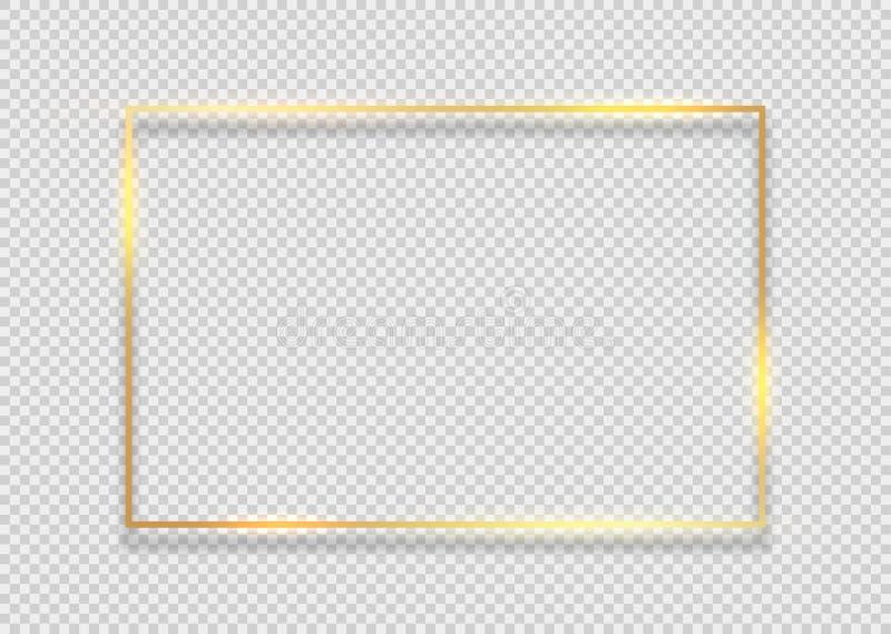 Z?oto ramy kwadrata t?o Z?ota ramowa linia z ?wiat?o ?uny racy skutka magicznym graficznym projektem royalty ilustracja