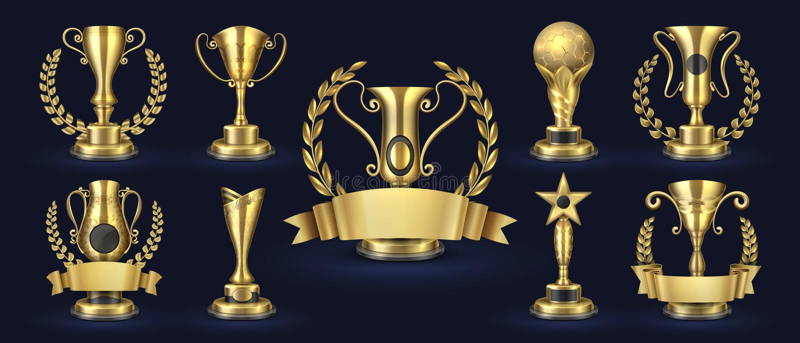 z?oty puchar Realistyczna mistrz nagroda, konkursu zwycięzca nagradza sztandar nagrody z bobkiem kształtują, 3d Wektorowa z?ota f ilustracja wektor