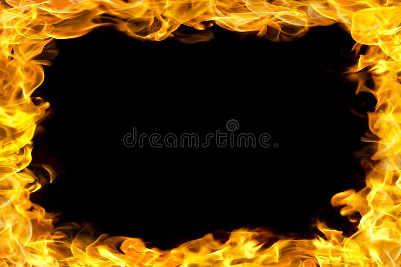 Z płomieniami pożarnicza granica zdjęcia stock
