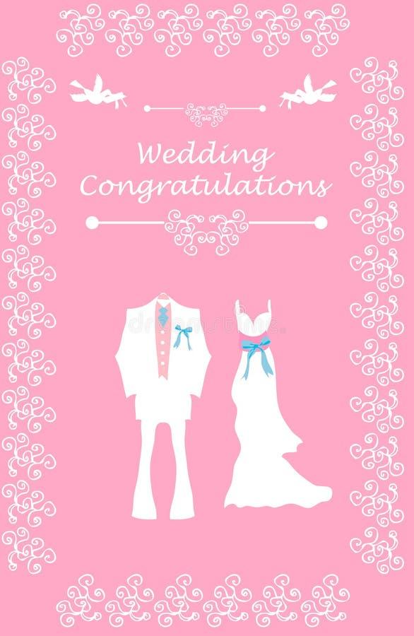 Z parą ślubna karta ilustracja wektor