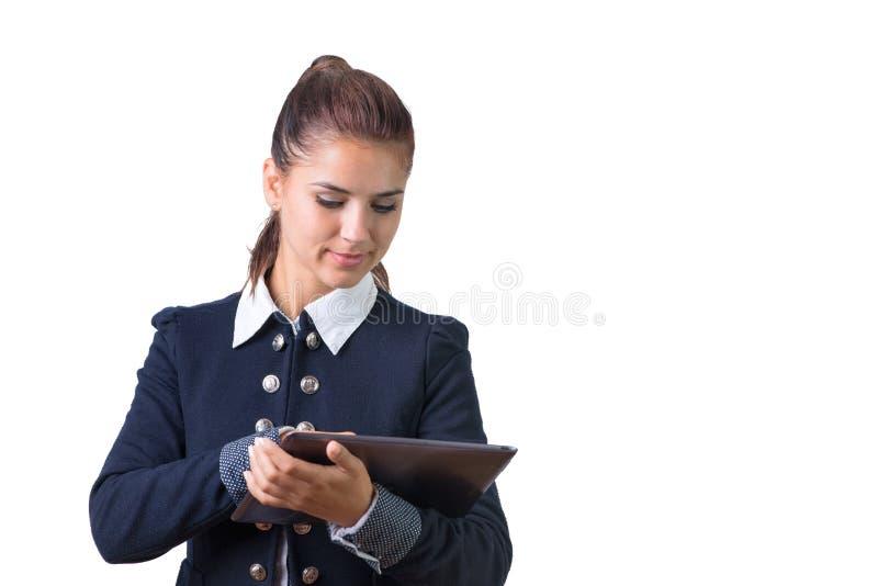 Z pastylką biznesowa kobieta zdjęcie stock