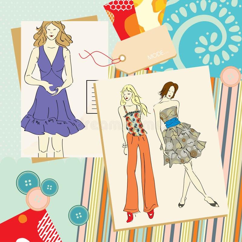 Z patchworku tłem piękna młoda dziewczyna. royalty ilustracja