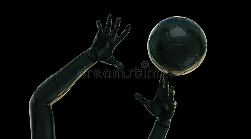 Z piłką futurystyczne ręki royalty ilustracja