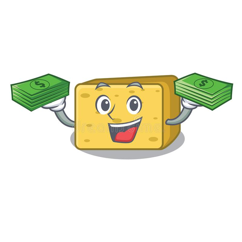 Z pieniądze gouda ser składa kreskówkę royalty ilustracja