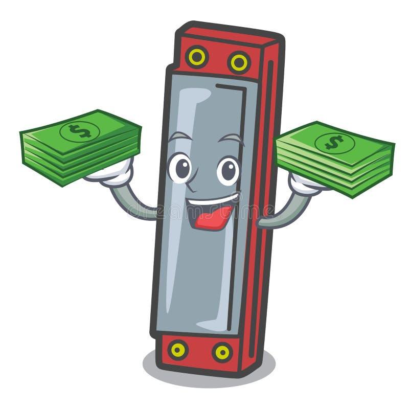 Z pieniądze harmonijki maskotki kreskówki stylem royalty ilustracja