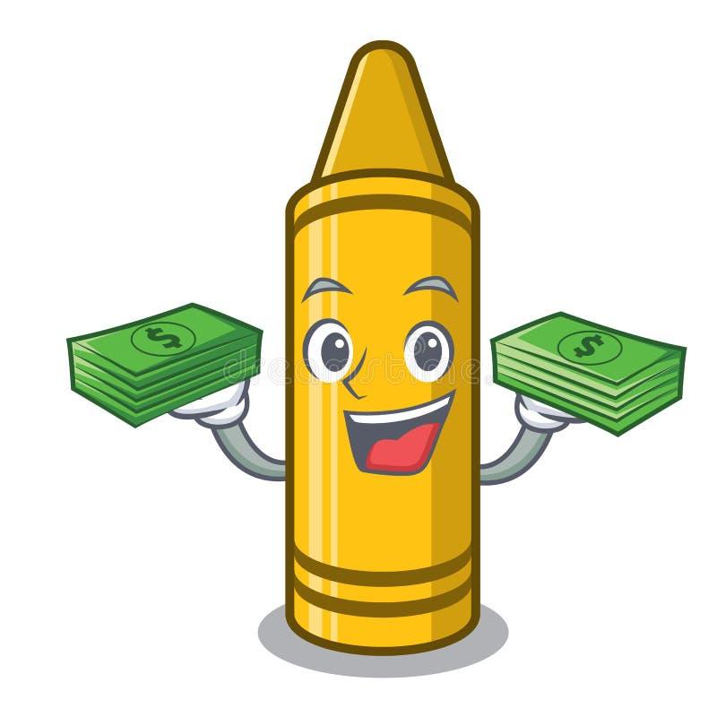 Z pieniądze torby żółtą kredką w kreskówka portflu ilustracji