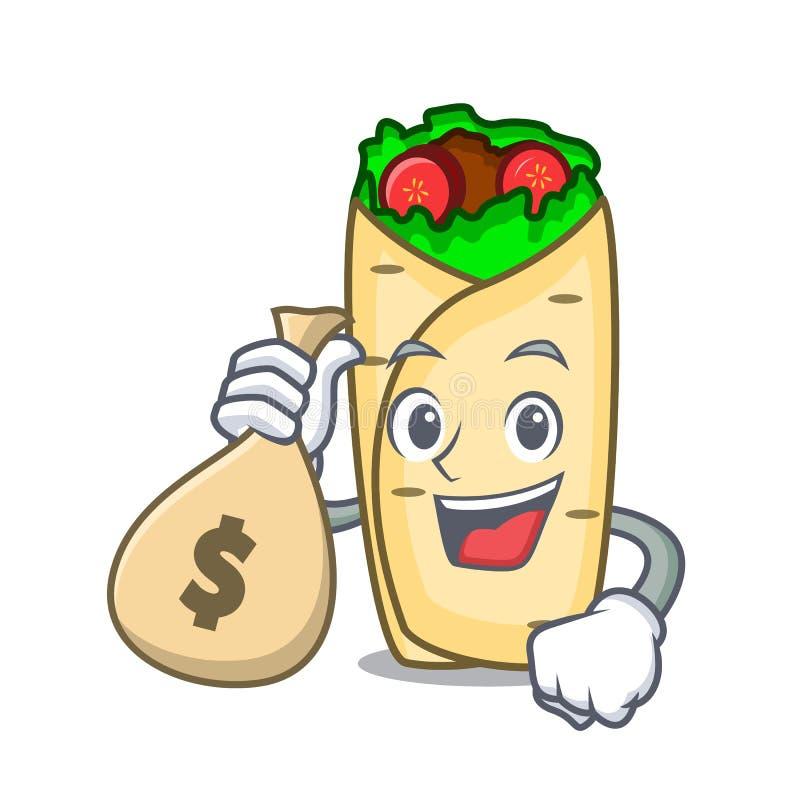 Z pieniądze torby burrito charakteru kreskówki stylem royalty ilustracja