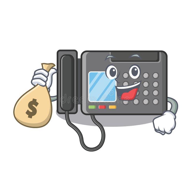 Z pieniądze torby faksu maszyną odizolowywającą w maskotce ilustracji