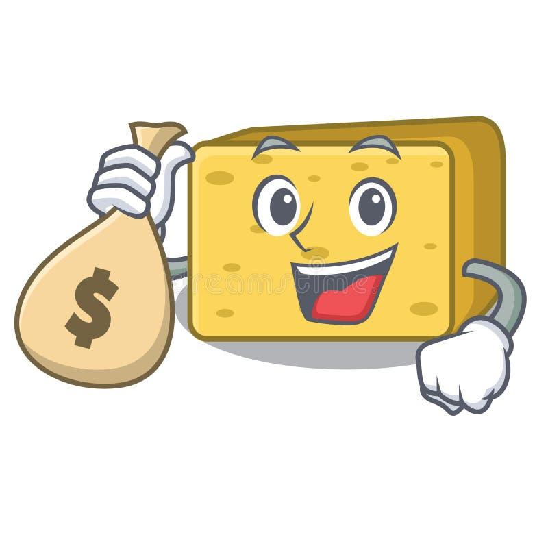 Z pieniądze torby gouda sera charakteru kreskówką ilustracja wektor