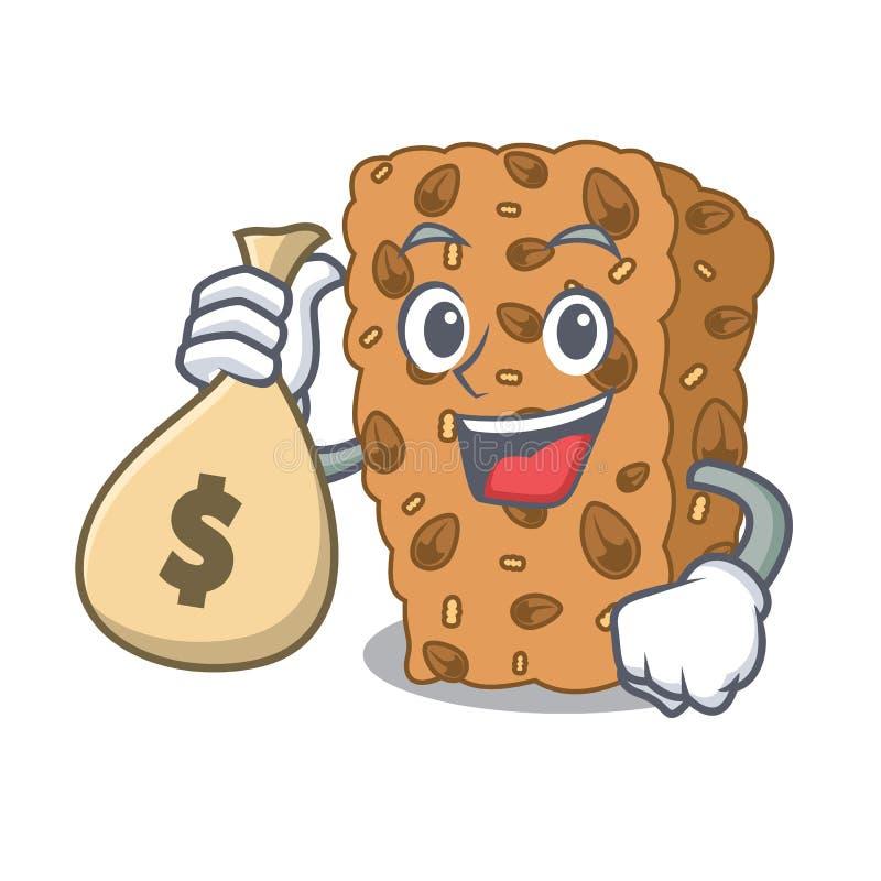 Z pieniądze torby granola baru charakteru kreskówką ilustracja wektor