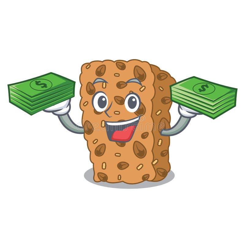 Z pieniądze torby granola baru maskotki kreskówką royalty ilustracja