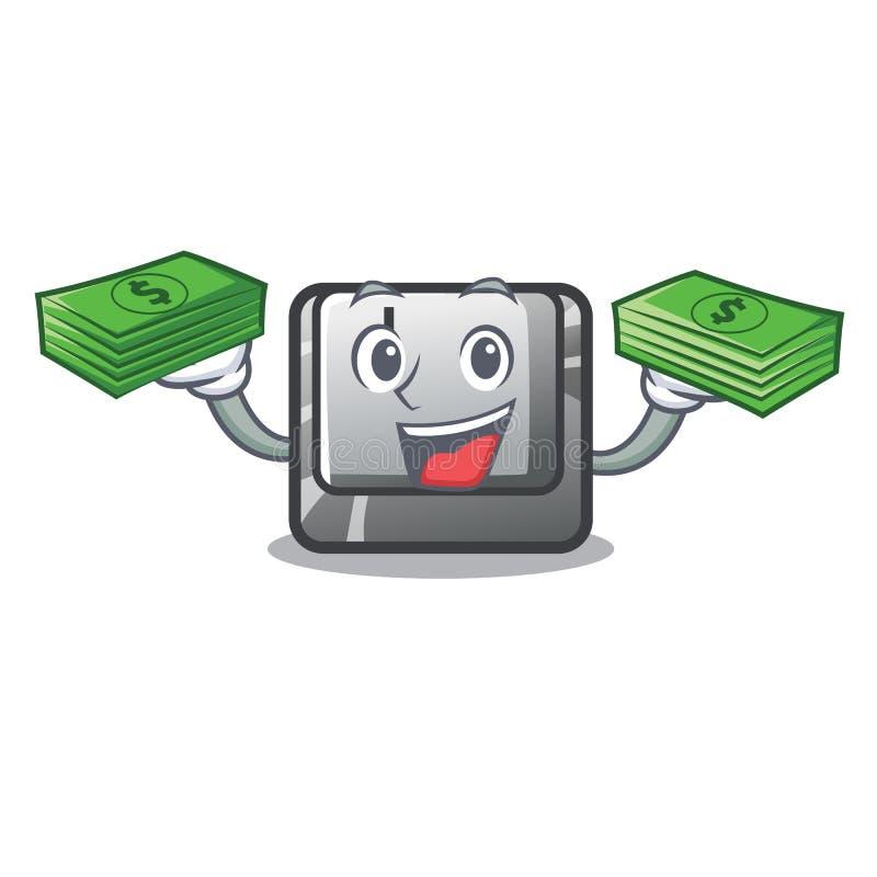 Z pieniądze torby guzikiem J na komputerowym charakterze ilustracja wektor