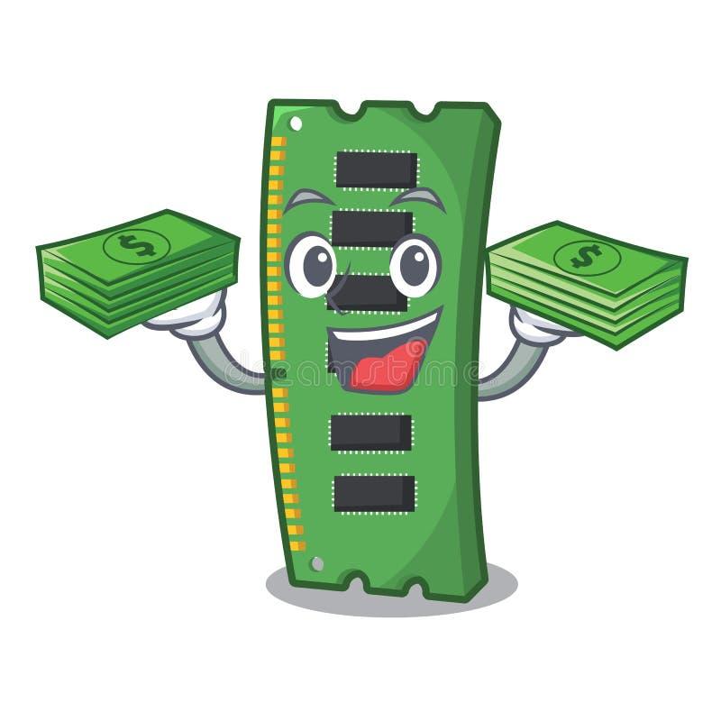 Z pieni?dze torby RAM kart? pami?ci w peceta charakterze ilustracja wektor
