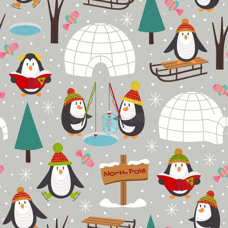 Z pingwinami bezszwowy wzór ilustracja wektor