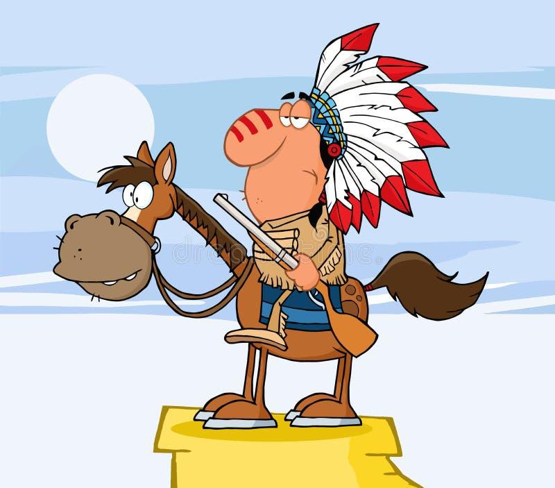 Z Pistoletem indiański Szef ilustracji