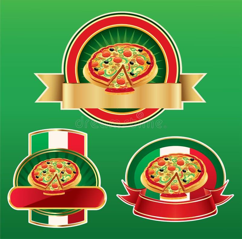 Z pizzą niektóre etykietki ilustracji