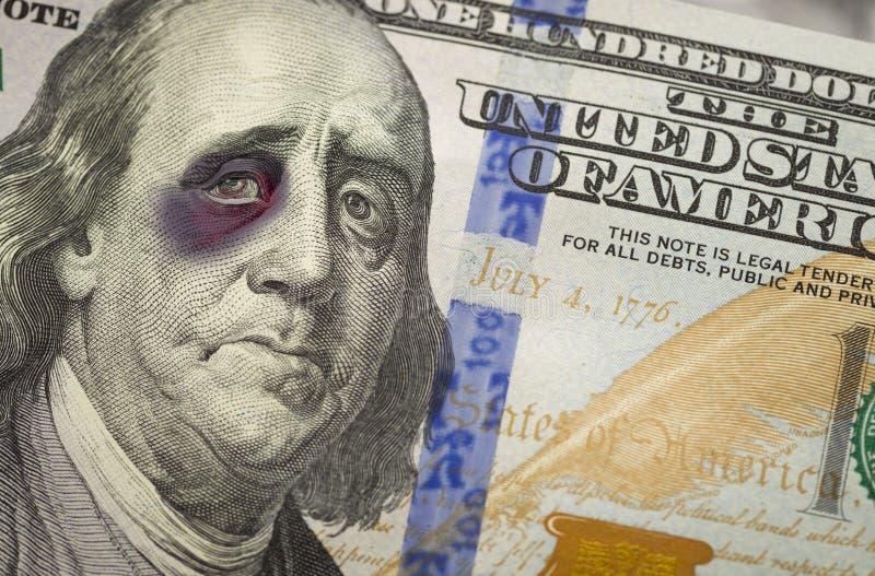Z Podbitym Okiem Ben Franklin na Nowych Sto Dolarowych Bill zdjęcie royalty free