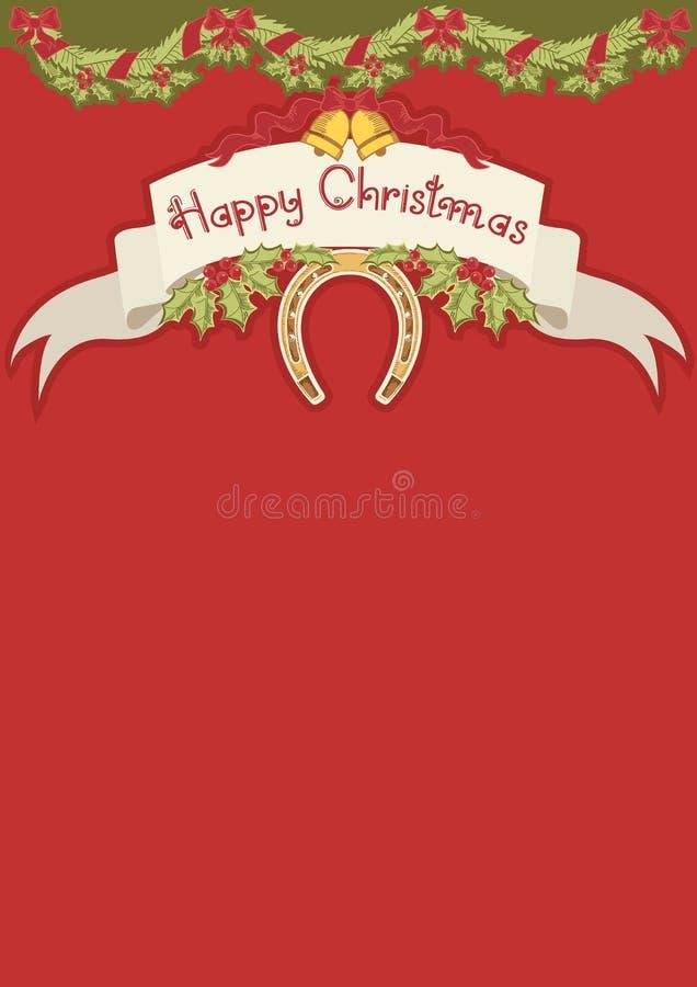 Z podkową czerwona kartka bożonarodzeniowa ilustracja wektor