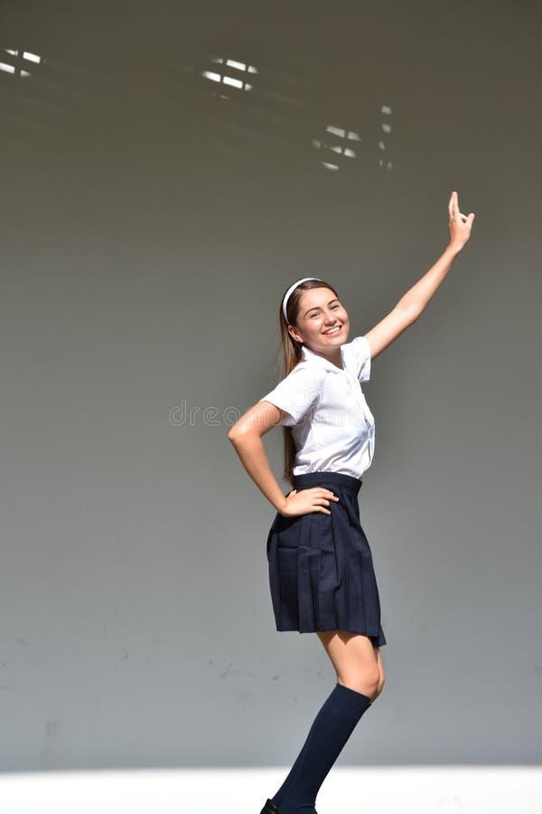 Z podnieceniem Śliczna Kolumbijska Nastoletnia Żeńska Jest ubranym spódnica obraz stock