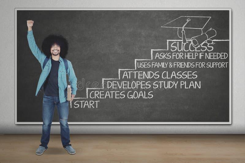 Z podnieceniem Afro uczeń z strategią sukces zdjęcie stock