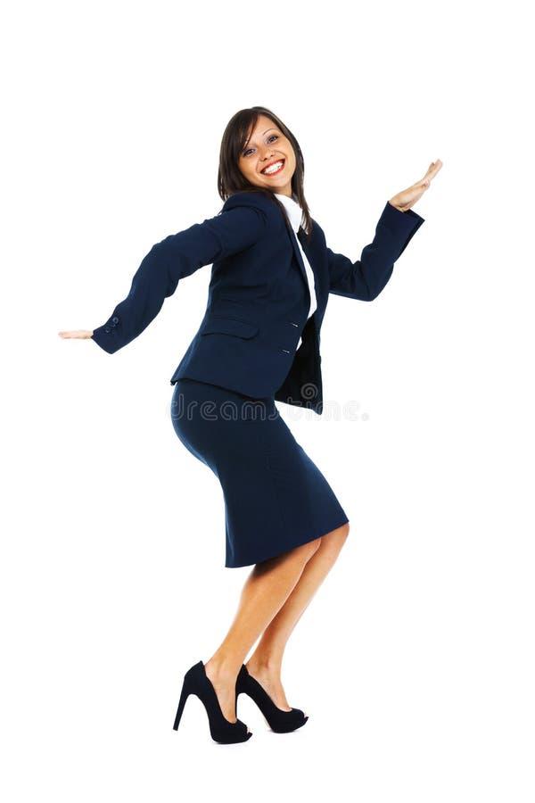 Z podnieceniem bizneswomanu taniec zdjęcie stock