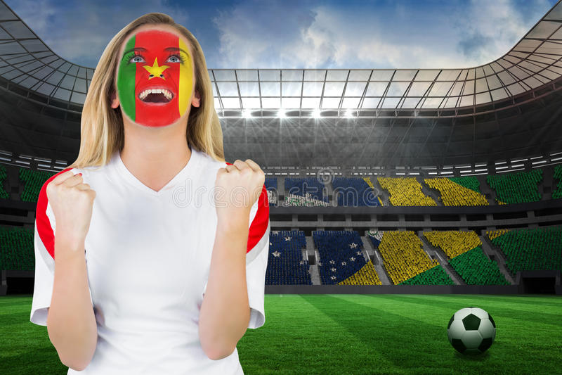 Z podnieceniem Cameroon fan w twarzy farby dopingu zdjęcia stock