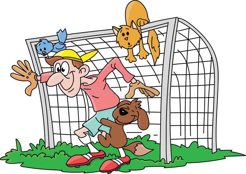 Z podnieceniem kreskówka bramkarz czeka strzał z jego zwierzę domowe przyjaciółmi wektorowymi ilustracja wektor