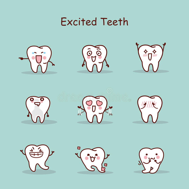 Z podnieceniem kreskówka zębu set royalty ilustracja