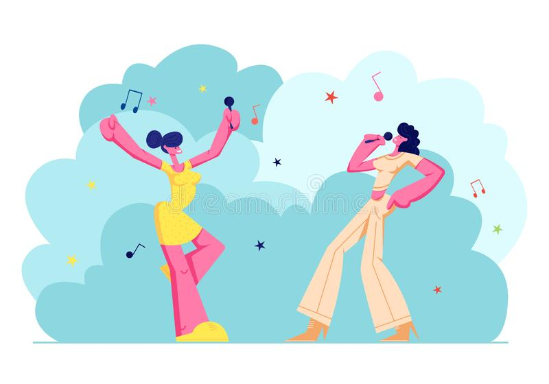 Z podnieceniem Młode Dziewczyny Firma Wykonuje na karaoke przyjęciu z mikrofonami Szczęśliwi Żeńscy charaktery Radośnie Śpiewa, m ilustracji