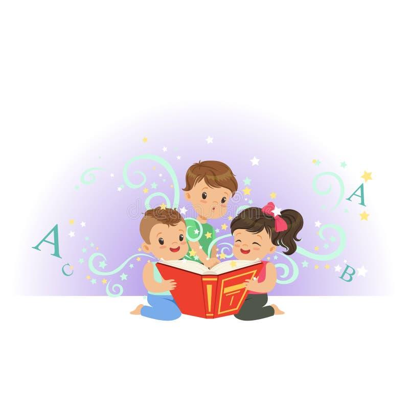 Z podnieceniem małe dzieci, chłopiec i dziewczyna patrzeje magię, rezerwują Dziecko charaktery z kolorową wyobraźnią Fantazi poję royalty ilustracja