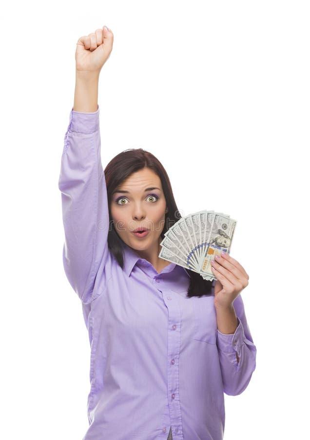 Z podnieceniem Mieszana Biegowa kobieta Trzyma Nowych Sto Dolarowych rachunków obraz stock