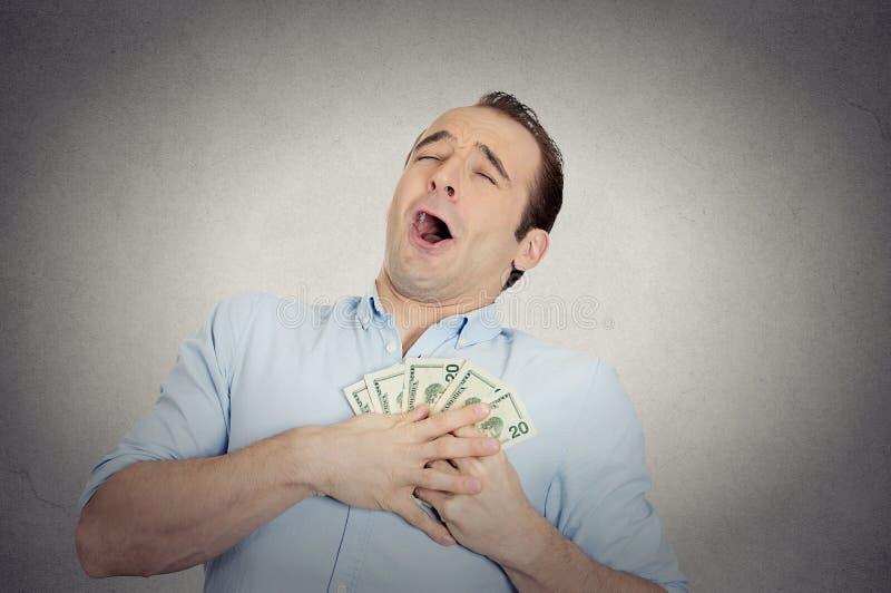 Z podnieceniem pomyślny biznesowy mężczyzna w miłości z pieniądze obrazy royalty free