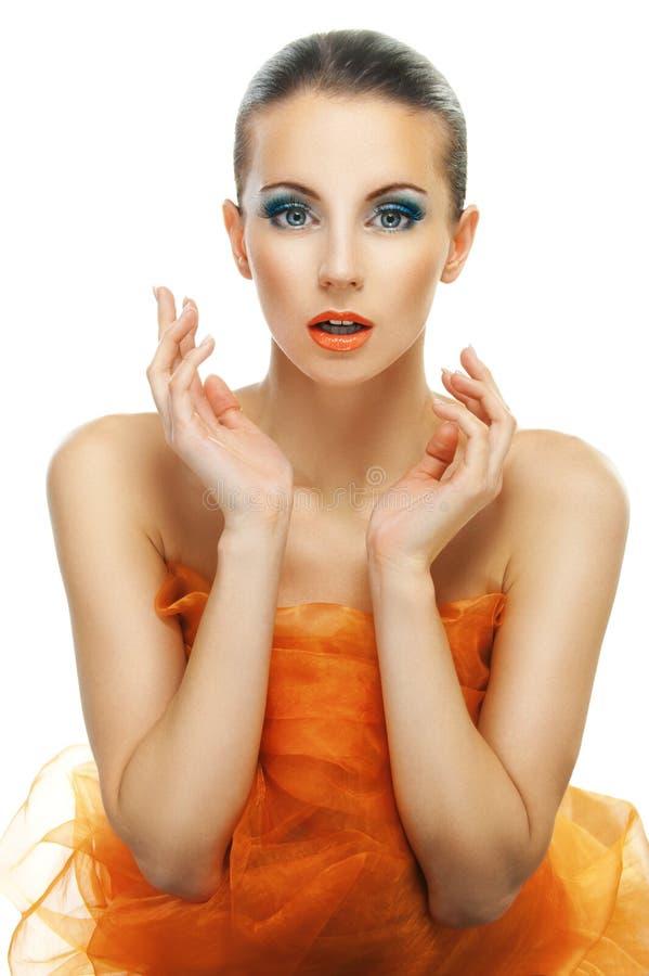 Z pomarańcze młodej kobiety close-up zdjęcia royalty free