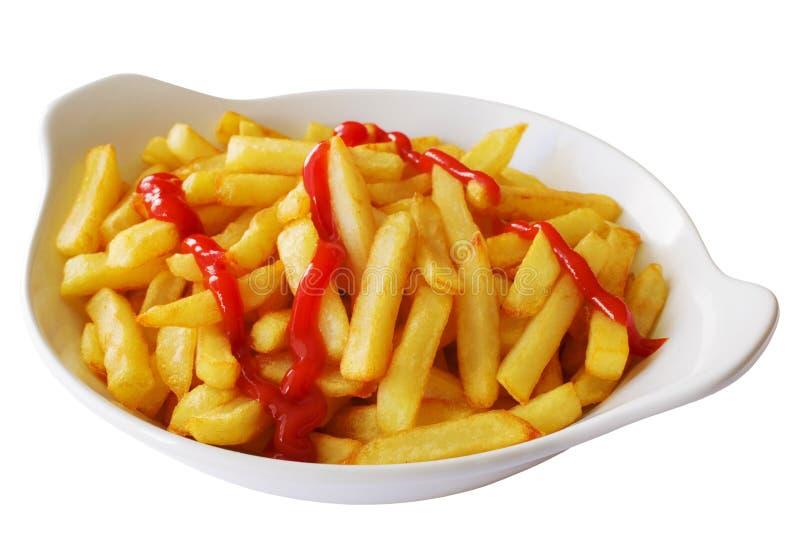 Z Pomidorowym Ketchupem francuscy Dłoniaki obraz stock