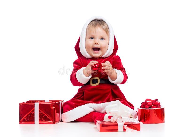 Z prezenta pudełkiem Święty Mikołaj TARGET1130_0_ dziewczynka fotografia stock
