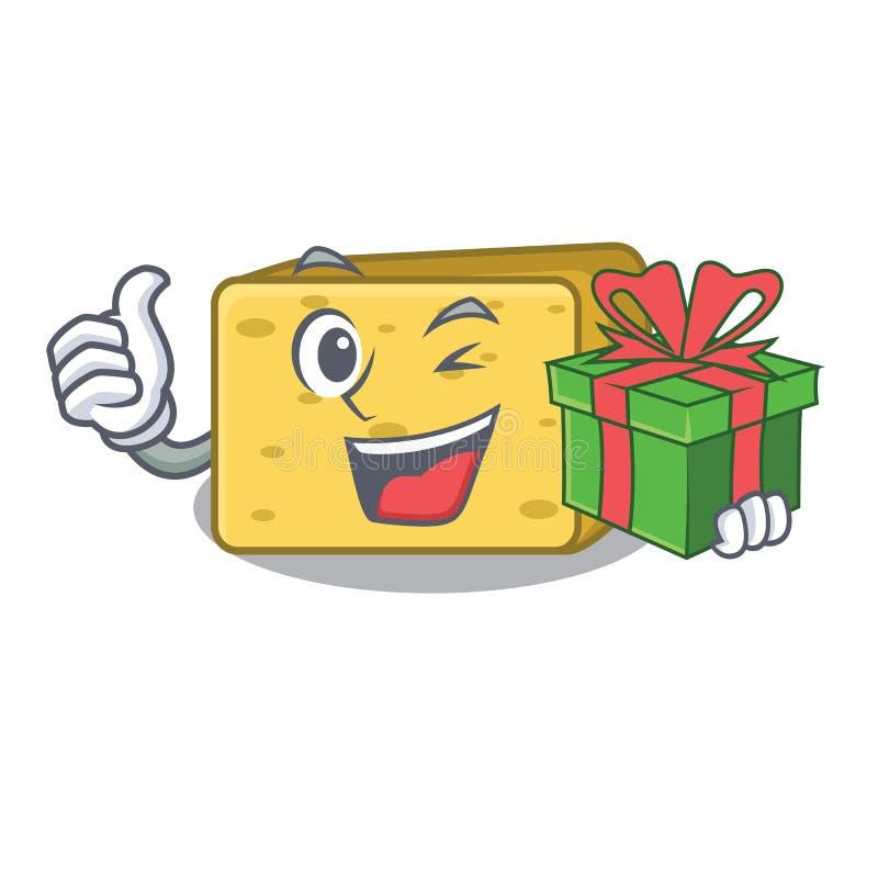 Z prezentem gouda ser składa kreskówkę royalty ilustracja