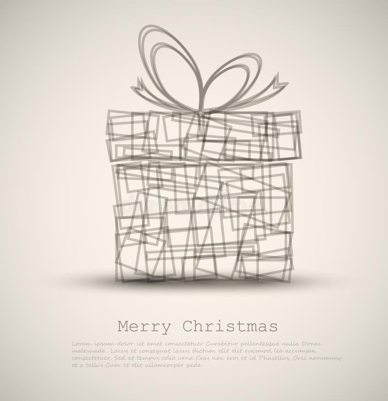 Z prezentem prosta Kartka bożonarodzeniowa ilustracja wektor