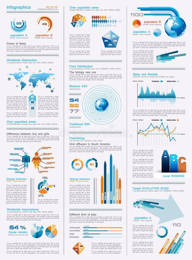 Z projektów mnóstwo elementami Infographics strona royalty ilustracja