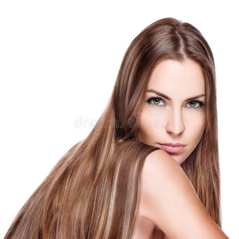 Z prosty długie włosy Oung kobieta zdjęcie stock