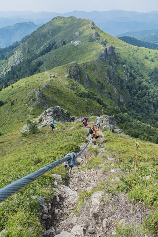 Z przyjaciółmi w górach Nieprawdopodobny widok Troyan Bałkański Góra zniewala z swój pięknem, świeże powietrze obrazy royalty free