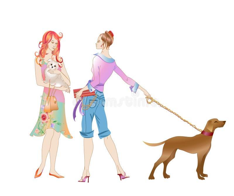 Z psami dwa dziewczyny ilustracja wektor