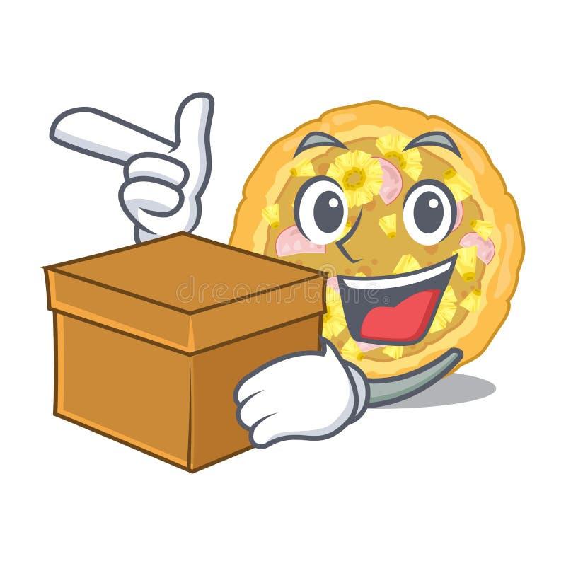 Z pudełkowatą hawajczyk pizzą w maskotka kształcie ilustracji