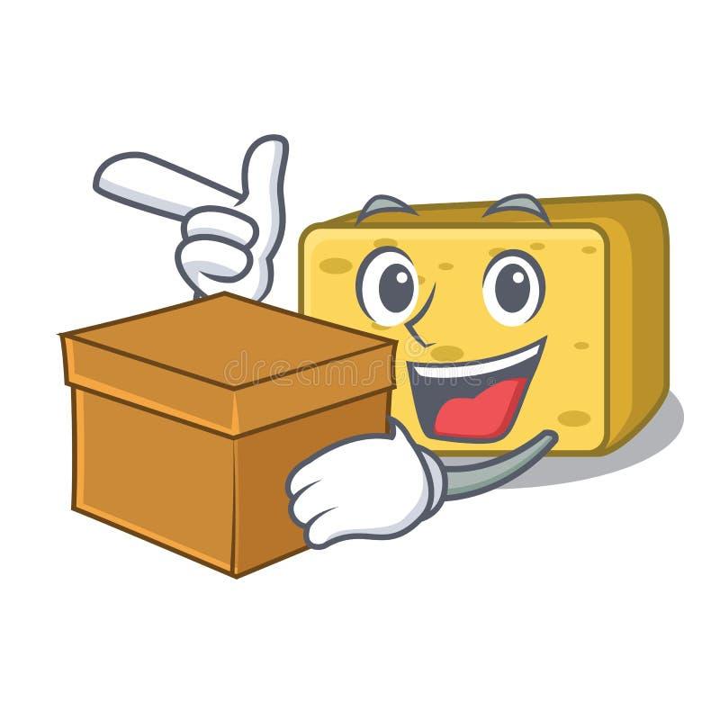 Z pudełkowatego charakteru gouda świeżym serem ilustracja wektor