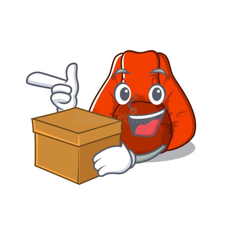 Z pudełkowatym bobowej torby krzesłem w charakterze ilustracja wektor