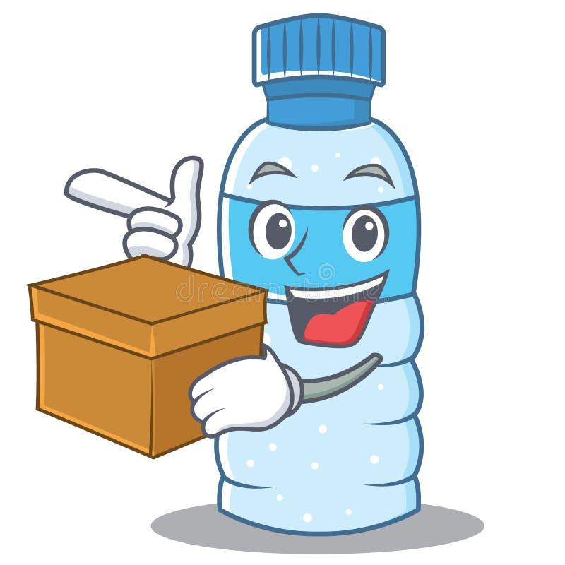 Z pudełkowatym butelka charakteru kreskówki stylem ilustracja wektor