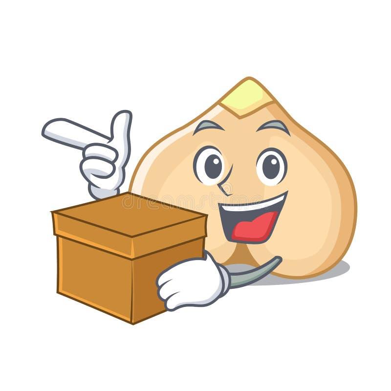 Z pudełkowatym chickpeas charakteru kreskówki stylem ilustracji